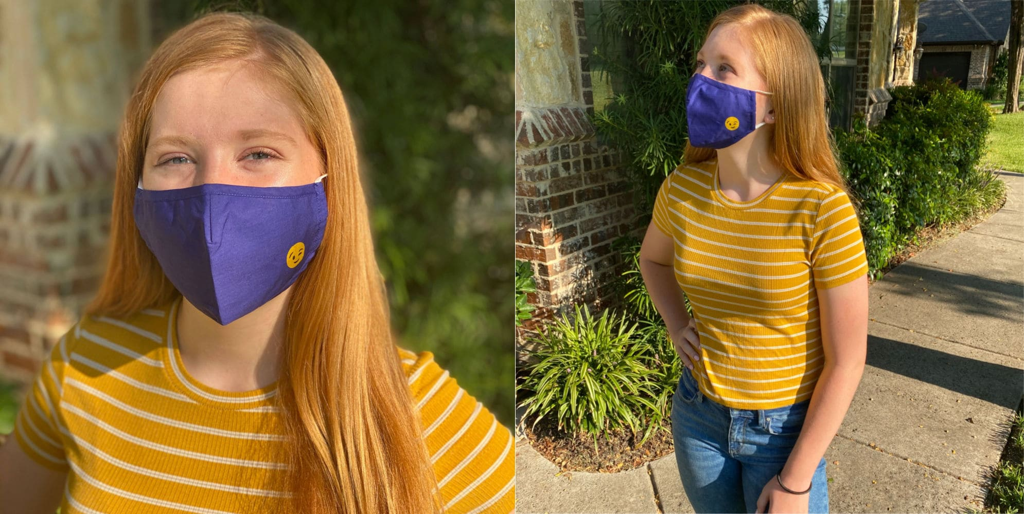 Teen wearing face mask from beau ties ltd