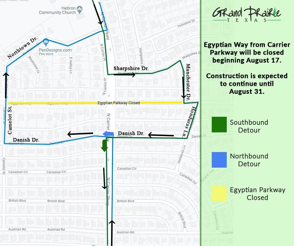 Grand Prairie: Egyptian Way at Carrier Pkwy Closed Beginning Monday 6