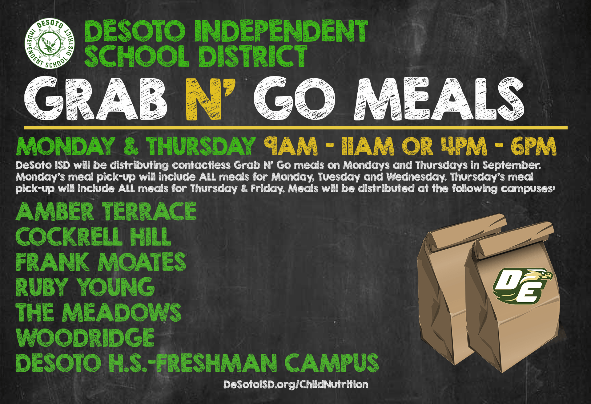 DeSoto ISD grab n go meals graphic