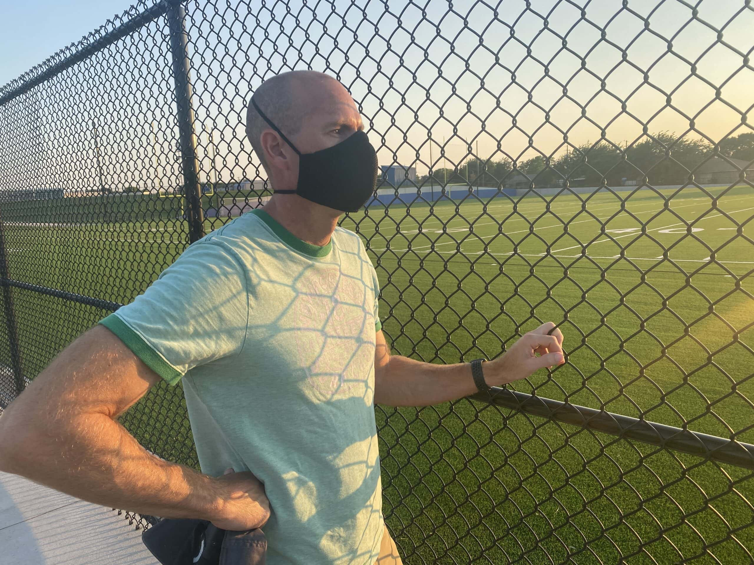 The aero face mask on a male