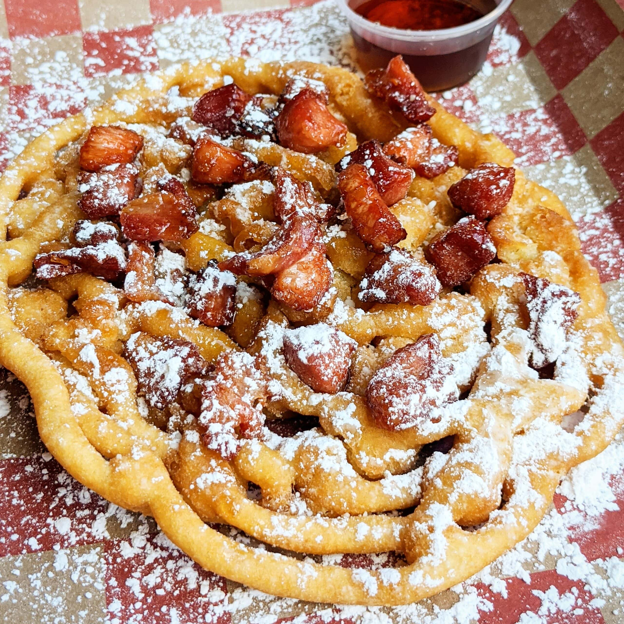 Maple Bourbon Bacon Funnel Cake