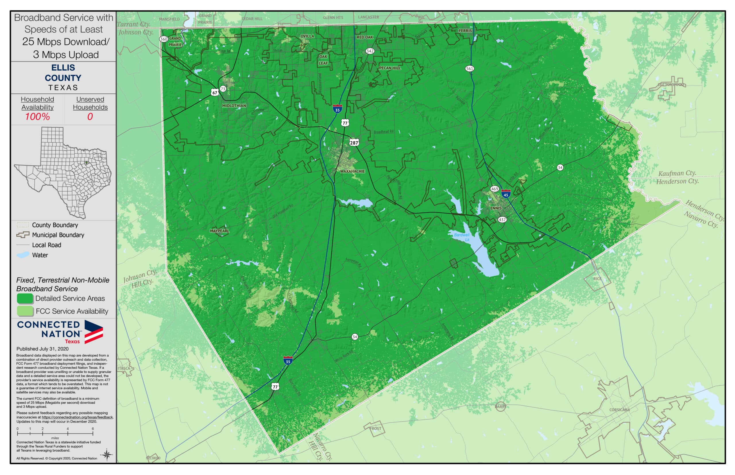 Ellis County broadband map 25 mbps
