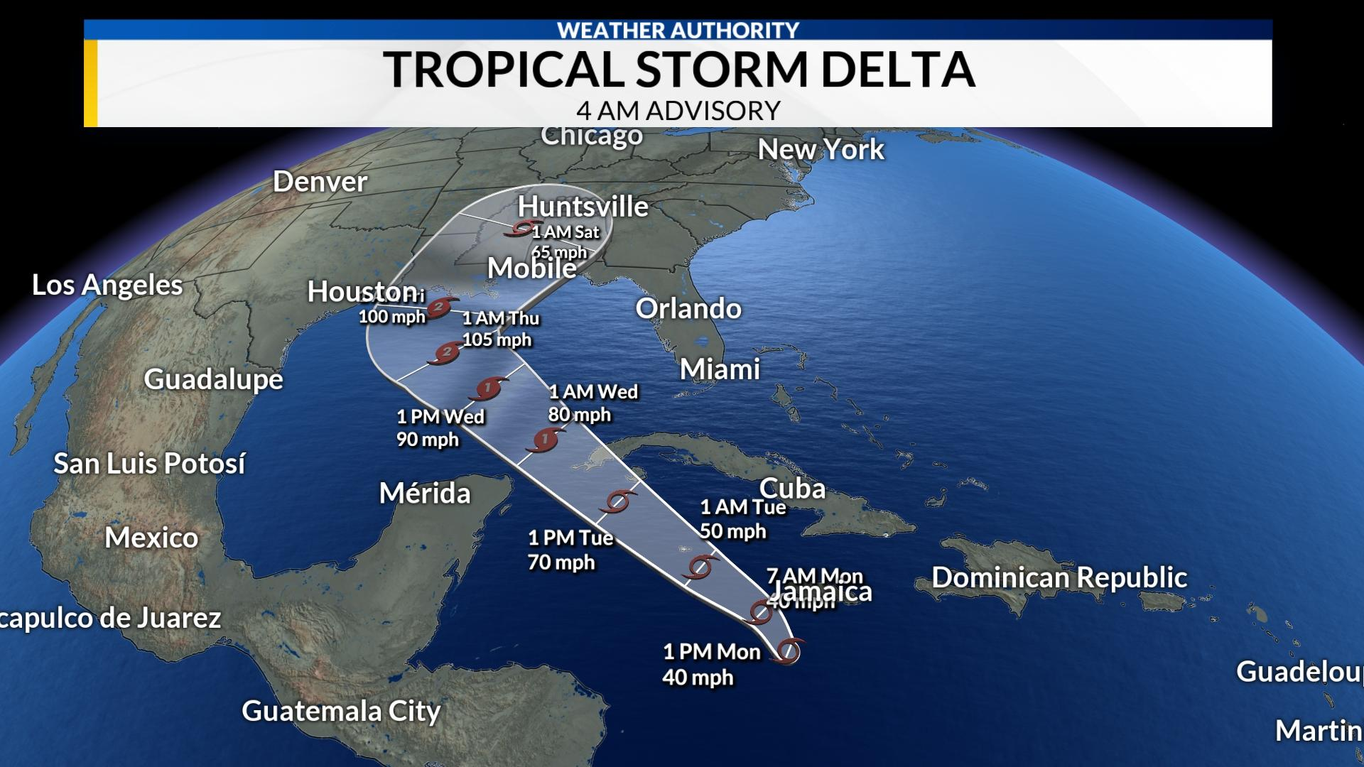 Delta strengthens into hurricane in Caribbean, headed for Gulf Coast 5