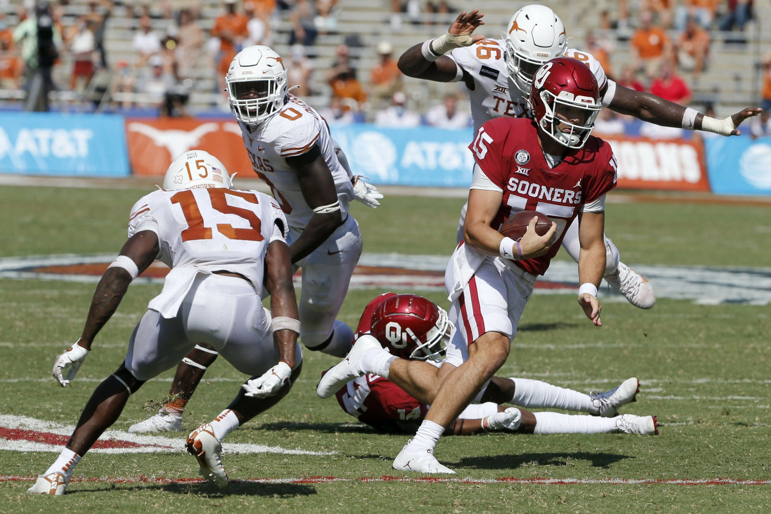 Oklahoma tops No. 22 Texas 53-45 in 4 OTs to win Red River rivalry 6