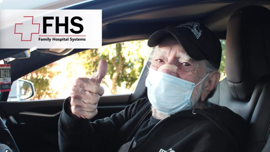 Willie Nelson gives a thumbs-up after receiving Covid-19 vaccine in Texas 1