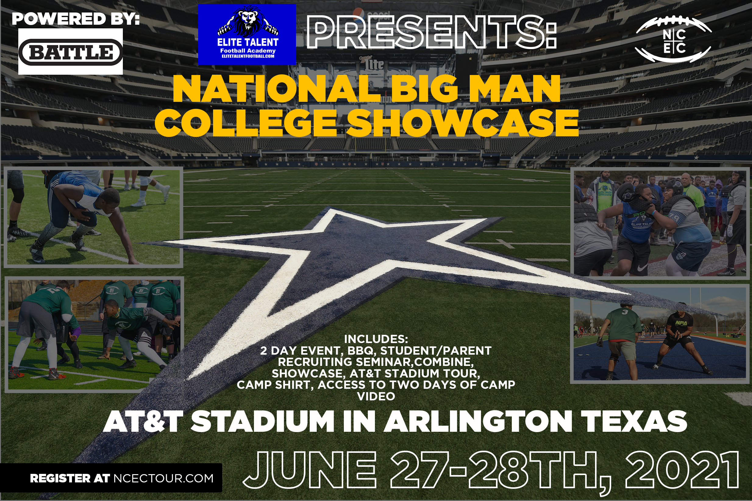 The National 'Big Man Camp' at Dallas Cowboys Stadium Powered by Battle welcomes the Next Generation of Football Stars 6