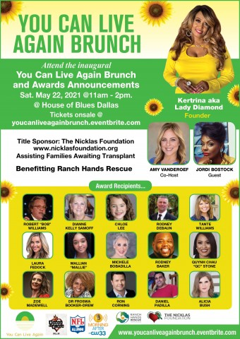 """The Inaugural """"You Can Live Again Brunch and Awards Announcement"""" Holds This May 6"""