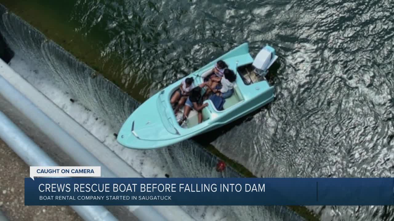 Caught on video: 4 rescued off boat 'teetering' at the edge of a Texas dam 6