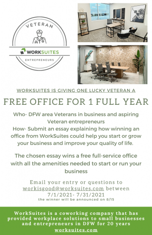 WorkSuites is giving a deserving Veteran business owner a free office for one full year 6