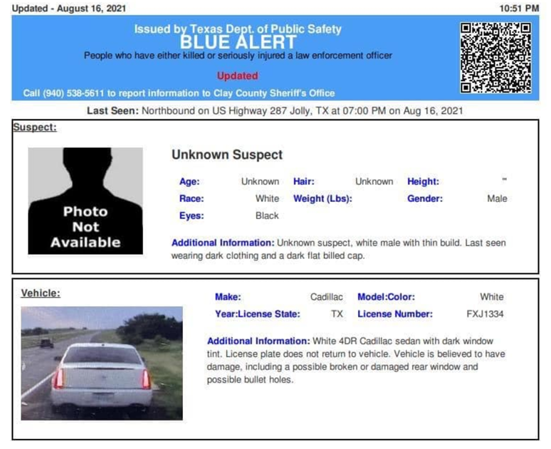 Cadillac with bullet holes sought in Texas 'Blue Alert' is located, but still no suspect in custody for deputy's shooting 6